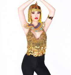 Beaded Halter Top http://patriciafield.com/collections/halloween/products/beaded-halter-top  Egyptian Cobra Magic Crown  http://patriciafield.com/collections/halloween/products/eqyptian-crown  Cleopatra Collar http://patriciafield.com/collections/halloween/products/cleopetra-chocker-multi