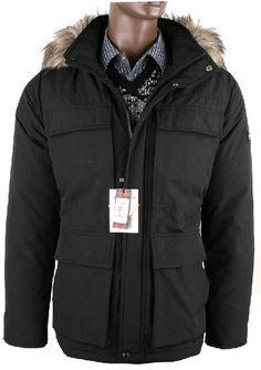 Pas cher woolrich parka Boulder coupe-vent en fourrure Garnitures vestes  noires 76e483f1887