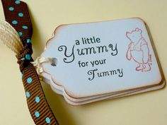 Classic Pooh Yummy for your Tummy Tags, Winnie the Pooh, Vintage Favor, Baby Shower, Birthday Party Food Tags. $5.50, via Etsy.