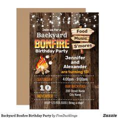 Backyard Bonfire Birthday Party Invitation Backyard Bonfire Party, Bonfire Birthday Party, Sibling Birthday Parties, Backyard Birthday Parties, Birthday Party Design, 13th Birthday, Fall Bonfire Party, Bonfire Ideas, Camping Party Invitations