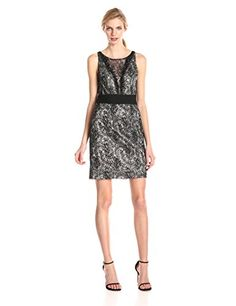 Hailey by Adrianna Papell Bonded Lace Dress with Neck Detail, Black/Nude - http://www.womansindex.com/hailey-by-adrianna-papell-bonded-lace-dress-with-neck-detail-blacknude/