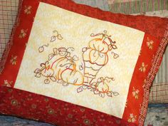 Pumpkin Topiary Autumn Leaves Embroidery Pillow