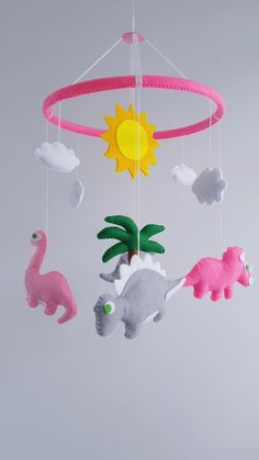 Mobile on the crib for your baby.Colorful dinosaur toys your child will enjoy and he would be happy to follow them.The first months of life the baby spends a lot of time in bed,mobile this is his first toy.In the photo number 5 you can choose any color when buying email me the numbers of colors.