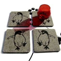 Whimsical coasters I just have to own. Industrial Felt -PENGUIN- Coaster Set by joshua stone $22.50