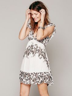 Free People Rose Print Ruffle Frock, $108.00 LOVE this dress...if only it came to the knee I would be a happy camper