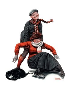 """Skating Lesson"" by Norman Rockwell, 1920   ー【This Rockwell illustration was The Saturday Evening Post cover, published February 7, 1920】