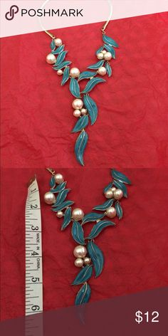 """Medallion Statement Necklace Brand new. Never worn. Teal green and gold metal enhanced with pearls. 18"""" with 3"""" extender. Jewelry Necklaces"""