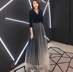 Elegant Navy Blue Evening Dresses 2019 A-Line / Princess V-Neck Suede Star Bow Sleeve Floor-Length / Long Formal Dresses Elegant Navy Evening Dresses 2019 A-Line / Princess Scoop Neck Floor-Length Sleeves Floor-length / Long Evening Dress Navy Evening Dresses, Dresses Elegant, Beautiful Dresses, Prom Dresses, Evening Gowns, Dresses Dresses, Long Dresses, Formal Dresses With Sleeves, Dress Formal
