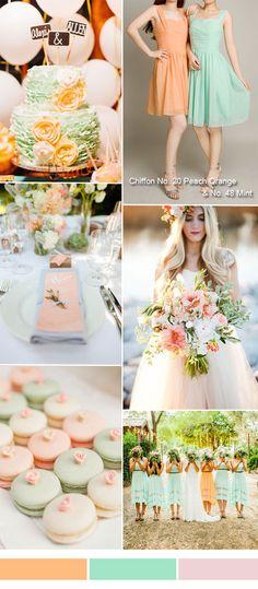 TBQP156 peach orange and mint wedding color ideas - peach orange mint short bridesmaid dresses