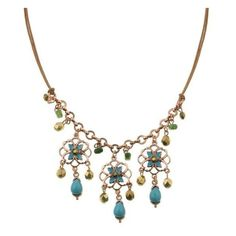 2028 Jewelry Azteca Flowers Turquoise Bib Necklace ❤ liked on Polyvore