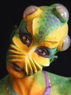 Prosthetics - Athena Zhe Controls internal body pressure underwater like a bladder system in fish Alien Makeup, Movie Makeup, Makeup Art, Sfx Makeup, Maquillage Halloween, Halloween Makeup, Face Off, Prosthetic Makeup, Monster Makeup