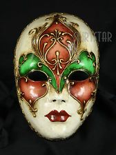 Genuine Venetian Mask Made in Italy Volto Masquerade Costume Wall Decor Full Fac