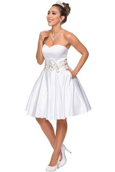 Short Wedding Dress JT769W. Knee Length A-Line Wedding Dress with Sweetheart and Strapless Nekline, Beading Embellished Waistline, Open Back with Lace-up Closure, Flowing Skirt. This Dress includes Matching Shawl.