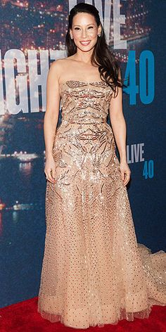 LUCY LIU  in a Zuhair Murad Couture strapless tulle gown at the SNL 40th Anniversary Celebration in N.Y.C.