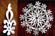 Wonderful DIY Paper Snowflakes With Pattern - Juanita Fortier Paper Snowflake Designs, Paper Snowflake Template, Paper Snowflakes, Paper Stars, Christmas Snowflakes, Noel Christmas, Kirigami, Christmas Paper Crafts, Diy Papier