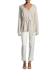 -6M4E Elizabeth and James  Barrett Belted V-Neck Wool-Blend Sweater, Oatmeal Collier Silk-Trim Track Pants, Ivory