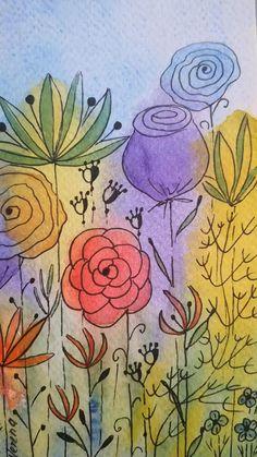 Watercolor Paintings For Beginners, Watercolor Art Lessons, Abstract Watercolor Art, Watercolor And Ink, Watercolor Illustration, Motif Floral, Floral Wall, Line Art Flowers, Watercolor Flowers Tutorial
