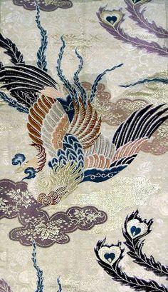 phoenix in gold and silk thread