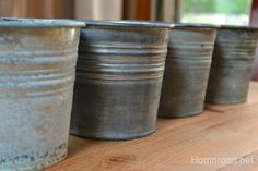 DIY: Antiquing Solutions Tutorials - shiny buckets are aged with different solutions. Each process & supplies used to get the finishes are on the post.   One finish uses Lysol.