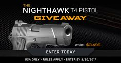 Enter To Win The Nighthawk T4 Pistol Giveaway! One lucky winner will receive a Nighthawk T4 Pistol Worth $3,495! https://wn.nr/H7wxkj