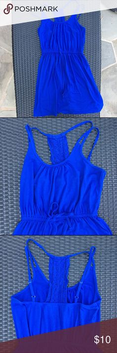 Love on a Hanger Royal Blue Racerback Tie Dress In good used condition, some signs of wear. Very comfortable. Tie is just for design doesn't actually cinch. 68% polyester 27% Rayon 5% Spandex. Size small. Very flattering. love on a hanger Dresses Midi