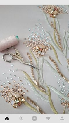 59 Trendy Embroidery Ideas Hand Pillows Source by Tambour Beading, Tambour Embroidery, Bead Embroidery Patterns, Couture Embroidery, Embroidery Fashion, Hand Embroidery Designs, Ribbon Embroidery, Beaded Embroidery, Embroidery Stitches