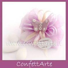 Papillon porta confetti decorato con farfallina in ceramica