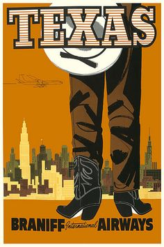 Vintage Travel Poster Texas by Kirt Baab, via Flickr