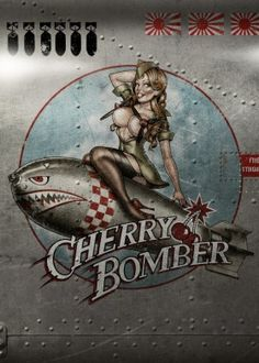 pinup cherry bomber girl retro vintage nose art