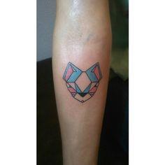 Little geometric cat tattoo