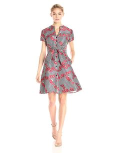 477bbadda38 Adrianna Papell Women s Gingham and Floral Flared Embroidered Shirt Dress  -- More info could be