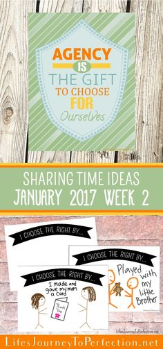 LDS PRIMARY SHARING TIME IDEAS FOR JANUARY 2017 WEEK 2 AGENCY IS THE GIFT TO CHOOSE FOR OURSELVES PRINTABLE ACTIVITIES AND MORE