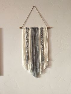 Modern Yarn Wall Hanging Gray and Ivory by BraidedLovelies on Etsy