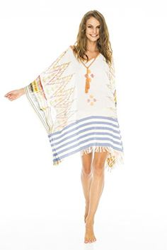 ce0250cae5 Clothing, Shoes & Jewelry > Women > Clothing > Swimsuits & Cover Ups >  Cover-Ups > Cotton Beach Poncho with Crochet Ikat Natural Blue Get .