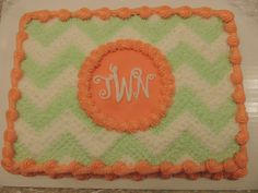 Chevron Cake with Smooth Neon colors and 30 in the middle