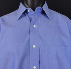 Brooks Brothers 346 Mens 16.5 36/37 Non Iron Blue Shirt All Cotton Regular LS  #BrooksBrothers