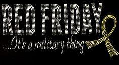 Miltary Red Friday Rhinestone Motif Tshirt Military Marine