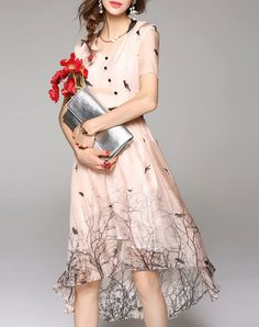 Check the details and price of this High Waist Printed High Low Silk Midi Dress (Champagne, WLZD) and buy it online. VIPme.com offers…