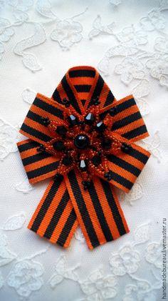 Купить Брошь-орден Георгиевская Лента 4 - оранжевый, брошь, брошь орден, брошь из лент