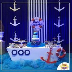 Risultati immagini per decoracion nautica para fiestas Sailor Baby Showers, Anchor Baby Showers, Baby Boy Shower, Sailor Birthday, Baby Birthday, Birthday Parties, Baby Showers Marinero, Birthday Decorations, Baby Shower Decorations