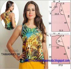 O molde de blusa regata encontra-se no tamanho 38 na tabela de medidas Portuguesa e tamanho 40 na tabela de medidas Brasileira.