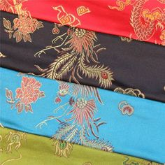 CHINESE ORIENTAL GOLD DRAGON EMBROIDERED BROCADE SILKY SATIN DRESS FABRIC in Crafts, Fabric | eBay
