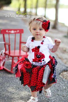 Baby Girl Tutu Headband set..Lady Bug tutu and headband set..Fabric Tutu