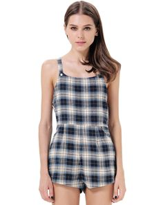 Blue Spaghetti Strap Plaid Pockets Jumpsuit 17.35