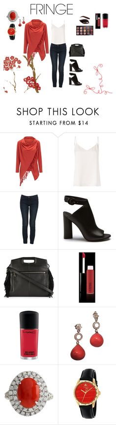 """Red Coral"" by bl-stewart ❤ liked on Polyvore featuring WithChic, L'Agence, Dolce&Gabbana, Maje, MAC Cosmetics, Warehouse and Gucci"