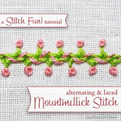 Here's a fun composite stitch - alternating Mountmellick stitch, laced. Click through for the step-by-step tutorial!
