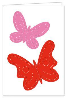 Grußkarte zum Prickeln - Schmetterlinge Rot/Rosa - mit farbigem Umschlag