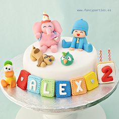 Pocoyo Cake although kian will be but he absolutely loves this show. Fondant Toppers, Fondant Cakes, Cupcake Cakes, Pretty Cakes, Cute Cakes, Beautiful Cakes, 3rd Birthday Cakes, Birthday Ideas, Birthday Parties