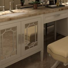 The Furniture Guild mirrored fretwork vanity cabinet