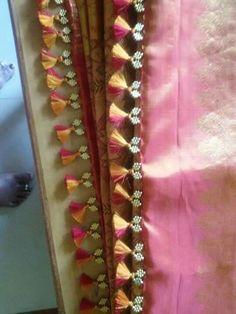 Bicolor crochet Saree Tassels Designs, Saree Kuchu Designs, Sari Blouse Designs, Saree Accessories, Saree Hairstyles, Saree Border, Thread Bangles, Silk Brocade, Saree Dress